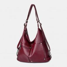 Multifunctional Faux Leather Large Capacity Handbag Shoulder Bag Backpack For Women