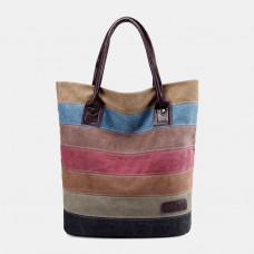Women Vinatge Multi-color Stripe Large Capacity Canvas Handbag Shoulder Bag