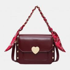 Women Fashion Ribbon Zipper Faux Leather Casual Crossbody Bag Shoulder Bag