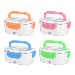 US Plug Stainless Steel 40W Electric Heated Lunch Box Heating Bento Box Food Warmer with Spoon Car Lunch Box
