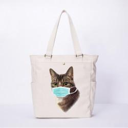Women Cat Pattern Mask Casual Canvas Shoulder Bag