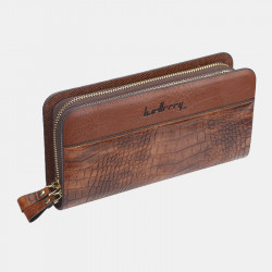 Baellerry Men Faux Leather Long Zipper Phone Bag Wallet Clutches Bag For Business
