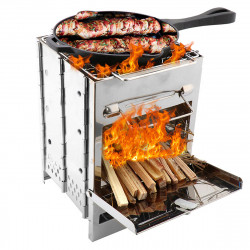 Outdoor BBQ Grill Stove Adjustable Stainless Steel Camping Picnic Cooking Wood Stove Set