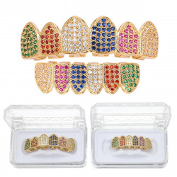 Colorful Plated Top Bottom Set Mouth Teeth Grills Copper Mouth Teeth Grills Dental Tools