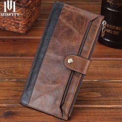 Men Genuine Leather Vintage Business Long Phone Bag Thin Wallet Clutches Bag