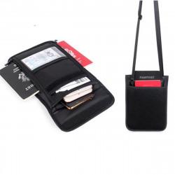 RFID Blocking Passport Holder Neck Stash Pouch Security Travel Wallet Shoulder Bag