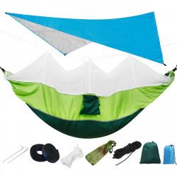IPRee 300KG Load 18pcs/set Lightweight Portable Camping Hammock and Tent Awning Set Rain Fly Tarp Mosquito Net Canopy 210T Nylon Hammocks, Waterproof 2000 Tree Straps Sun Shelter