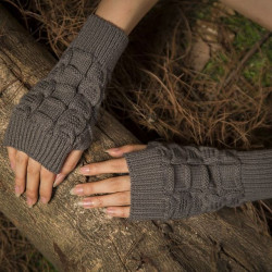 Warm Knit Fingerless Gloves Semi-finger Sports Short Twisted Glove