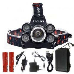 XANES 7310-A 2500LM T6+4xXPE Headlamp 4 Modes 90 Adjustable Waterproof 2x18650 Battery AC/DC Charger Work Light