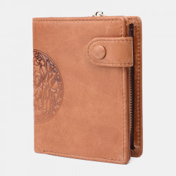 Men Genuine Leather Vintage RFID Blocking Anti-Theft Zipper Coin Bag Wallet