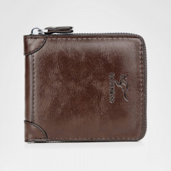 Men Vinatge Anti-Theft RFID Blocking Faux Leather Zipper Wallet Multi-Card Holder Coin Bag