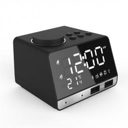 Dual Alarm Clock Dual Units Wireless bluetooth Bass Speaker LED Display FM Radio USB Port Speaker
