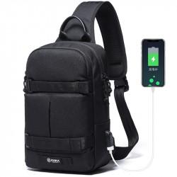 KAKA USB Anti Theft Crossbody Bag Oxford Shoulder Bag Chest Waist Bag Men Travel Bag