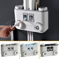 Toothbrush Holder No Drill Wall Mount Storage Shelf Rack Bathroom Toothpaste Dispenser