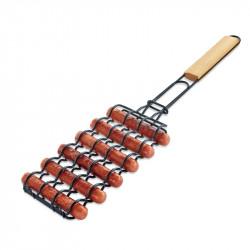 BOLEEFUN Non-Stick Sausage Grilling Basket Metal Mesh Adjustable Sausage Rosewood Handle Grill Rack for Barbecue Tools