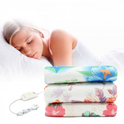 220V Electric Heated Blanket 2 Modes Polyester Floral Printed Bedroom Travel Warm Blankets Pad