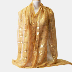 Women Solid Color Chiffon Scarf Ethnic Style Sequin Hijab