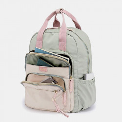 Women Nylon Waterproof Multifunction Bag Casual Patchwork Backpack