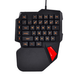 K108 38 Keys Wired Keyboard 3 Color LED Backlit Ergonomic One-Handed Hand Gaming Keyboard for PC Laptop