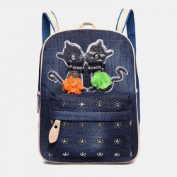 Women Canvas Cute Cat Print Patchwork Casual Backpack School Bag