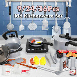 9/24/36Pcs Kitchen Pretend Play Accessories Toys with Cookware Pots and Pans Set Cooking Utensils and Grocery Play Food for Kids Boys Toddler Tableware