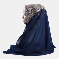 Hijab Scarf Chiffon Beaded Long Scarf