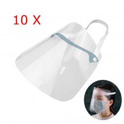 ZANLURE 10pcs Adjustable Transparent Anti Splash Dust-proof Protect Full Face Covering Safety Mask Visor Shield