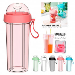 420/600ml Double-tube Opening Design Drinking Cup Kitchen Travel Creative Dual-use Water Bottle Drinking Cup Double Straw Cups