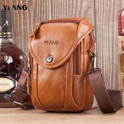 Men Genuine Leather Crossbody Bag Shoulder Bag Phone Bag Waist Belt Bag For Outdoor