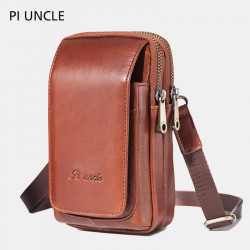 Men Genuine Leather Crossbody Bag Waist Belt Phone Bag