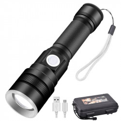 XANES X-851 XH-P50 Zoomable Flashlight USB Rechargeable 3 Modes Waterproof LED Light 18650 Battery