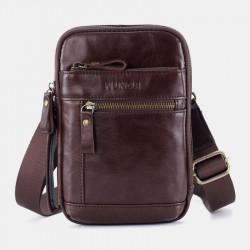 Men Genuine Leather Multi-layer Crossbody Bag Waist Belt Bag Shoulder Bag Phone Bag