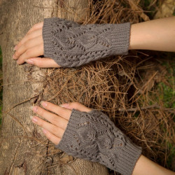 Wool Knit Half Finger Gloves Typing Female Diamond Finger Glove