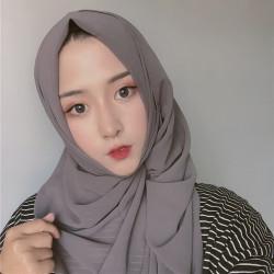 Women Chiffon Long Scarf Solid Color Scarf Hijab