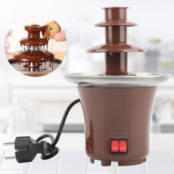 Mini Chocolate Fountain Three Layers Creative Chocolate Melt With Heating Fondue Machine Diy Melt Waterfall Pot