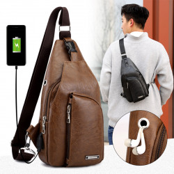 Men's Fashion PU Leather Sling Bag Chest Shoulder Backpack Waterproof Crossbody Bags with USB Charging Port and Earphone Hole for Travel Hiking Cycling