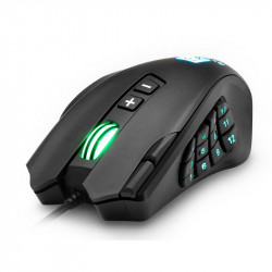 Rocketek R6 USB Wired Multi-Buttons Gaming Mouse 16400DPI 16 Buttons Laser Programmable Game Mice with 5 Backlight Modes Ergonomic Mouse for Laptop Computer PC