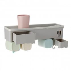 Wall-mounted Toothbrush Holder Toothpaste Dispenser Bathroom Storage Organizer