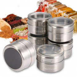 Skymore 12Pcs Spice Jar Set Stainless Steel Magnetic Spice Tins Spice Organizer Condiment Kitchen Storage Container
