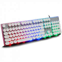 Retro Punk Round Suspension Keycaps 104 Keys Mechanical Keyboard USB Wired LOL CF RGB Backlight Gaming Keyboard