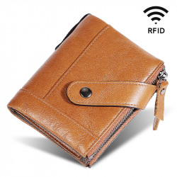 Men Genuine Leather RFID Blocking Vintage Double Zipper Cards Holder Wallet