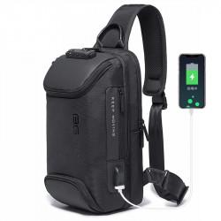 BANGE Anti-theft Shoulder Bag TSA Lock Waterproof Crossbody Bag USB Charging Men Handbag Travel Storage Bag