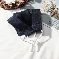 Silk Crepe Double Face Mask Breathable Printed Mask Navy Blue Jacquard