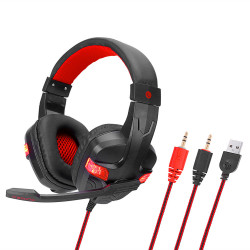 Soyto SY860MV PC USB Wired Game Headphone 2*3.5mm Plugs Bass LED Light Gaming Headset Stereo Headphones Earphone with Microphone for Computer PC Gamer