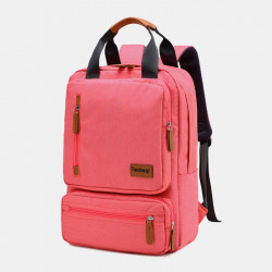Men Women Fashion Large Capacity Multi-pocket Pure Color Backpack