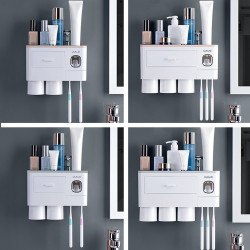 2/3Cup Magnetic Toothbrush Phone Holder Automatic Toothpaste Dispenser Wall Mounted Storage Rack