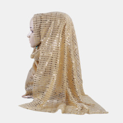 Gold and Silver Fashion Women Soft Hijab Islamic Shawl Scarf Cap Head Cover Gift Collectsound
