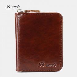 Men Genuine Leather RFID Blocking 11 Card Slots Card Holder Wallet