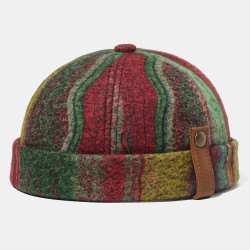 Multicolor SKull Caps Striped Plush Soft Fabric Wavy Pattern With Folk-custom Brimless Hats