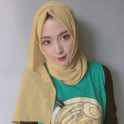 Women Scarf Hijab Solid Color Chiffon Long Scarf